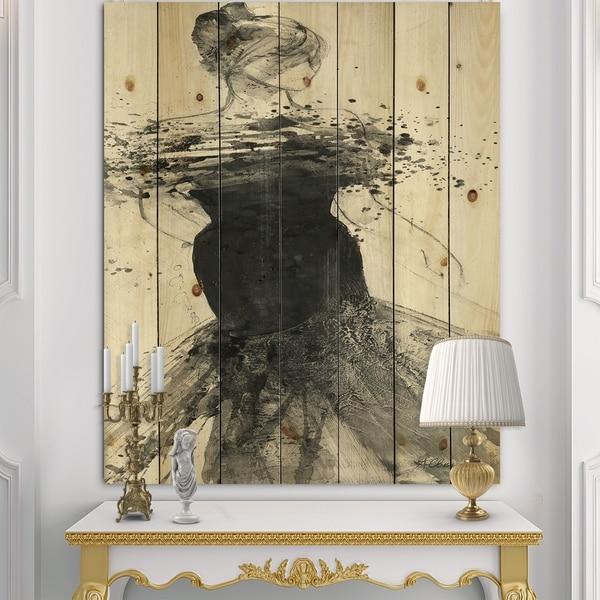 Designart 'Glam Dancing I' Fashion Figures Print on Natural Pine Wood - Black