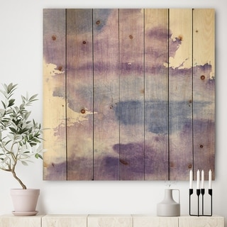 Designart 'Watercolor Purple Haze I' Modern & Contemporary Print on Natural Pine Wood