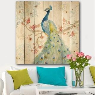 Designart 'peacocks Watercolor II' Traditional Print on Natural Pine Wood - Multi-color