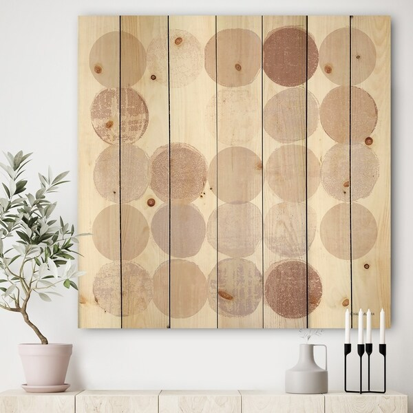 Designart 'Shade of Pink Geometric Dots I' Abstract Print on Natural Pine Wood - Multi-color