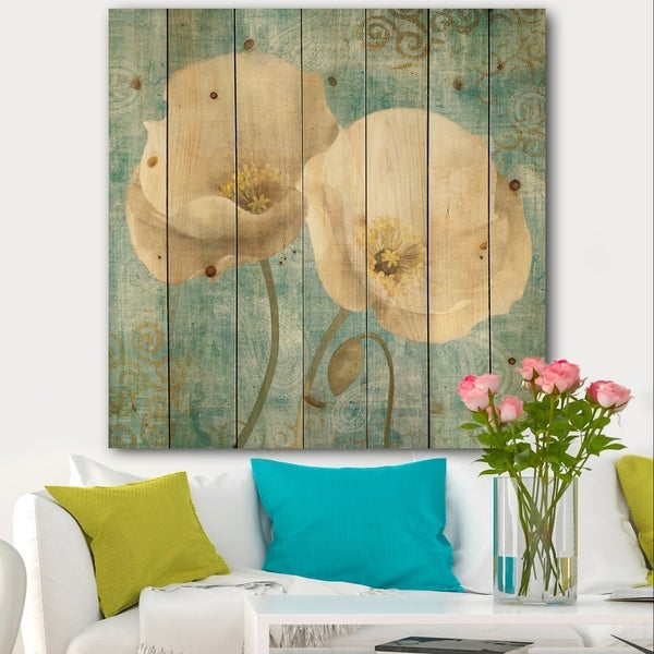Designart 'bouquet Poppies on Paisley II' Cottage Print on Natural Pine Wood - Multi-color