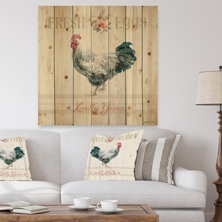 Designart 'Wood Farm Roaster III' Farmhouse Print on Natural Pine Wood - Multi-color