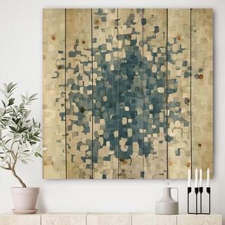 Designart 'Geometric Blue Spots' Modern & Contemporary Print on Natural Pine Wood