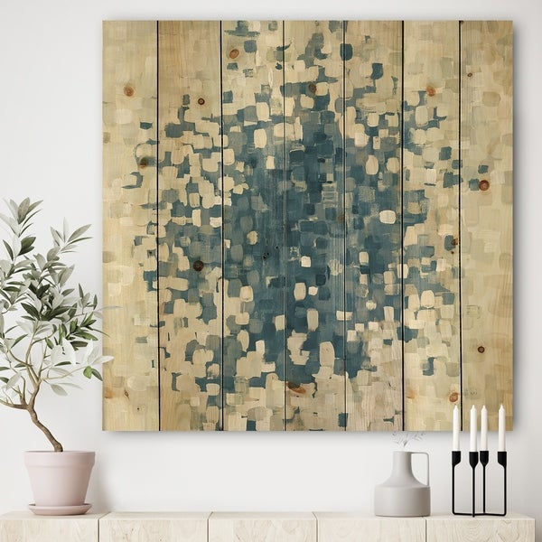 Designart 'Geometric Blue Spots' Modern & Contemporary Print on Natural Pine Wood