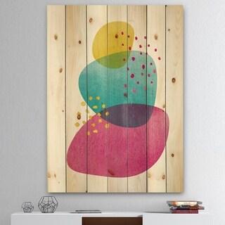Designart 'Minimal Spots Balance IV' Mid-Century Modern Print on Natural Pine Wood - Blue/Pink