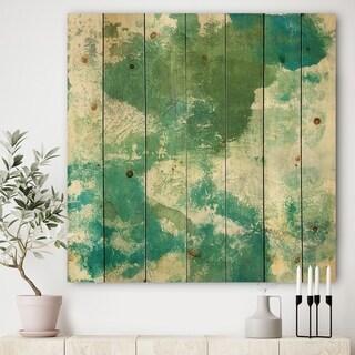 Designart 'Watercolor Rock II' Modern & Contemporary Print on Natural Pine Wood - Green
