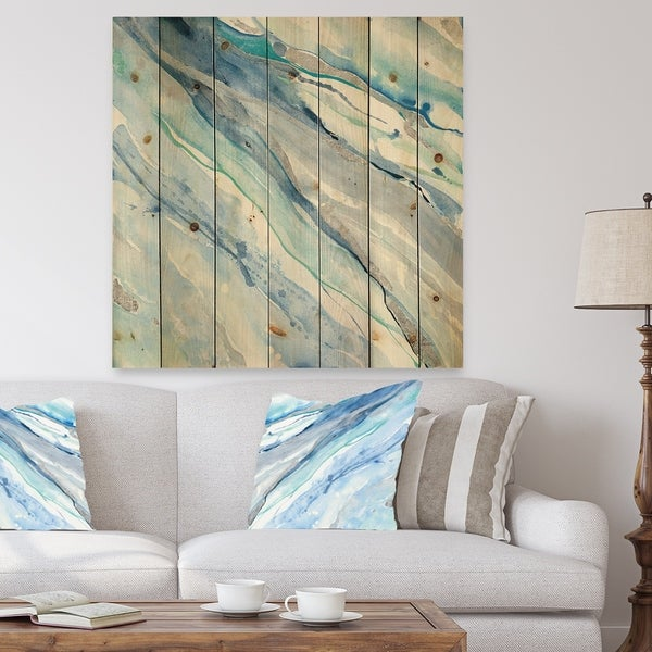 Designart 'Blue Silver Spring II' Modern Lake House Print on Natural Pine Wood - Blue