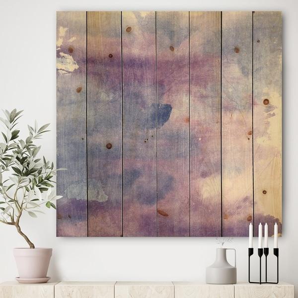 Designart 'Watercolor Purple Haze II' Modern & Contemporary Print on Natural Pine Wood