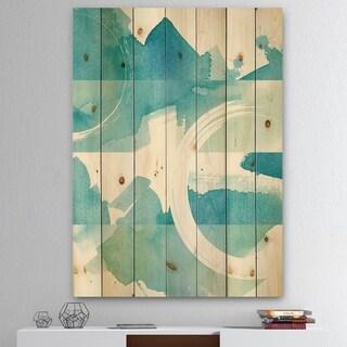 Designart 'Coastal watercolors II' Transitional Print on Natural Pine Wood - Blue