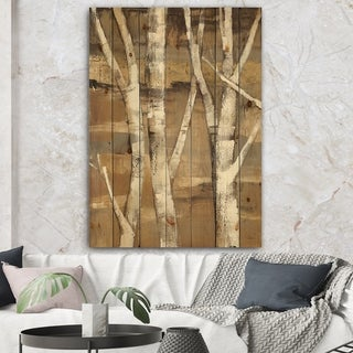 Designart 'Natural Birch Forest II' Traditional Print on Natural Pine Wood - Brown/White