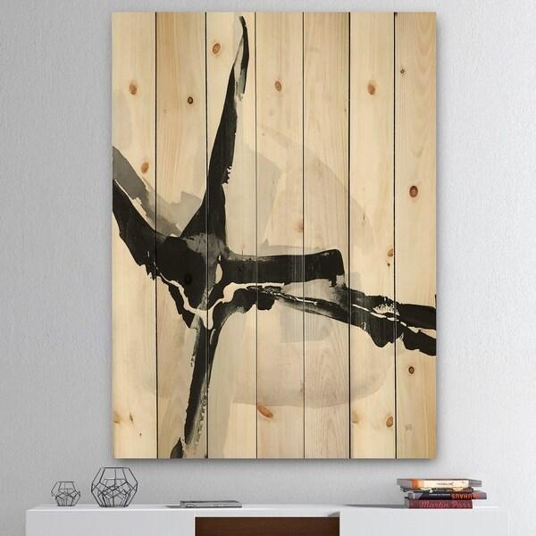 Designart 'Abstract Neutral I' Mid-Century Modern Print on Natural Pine Wood - Black