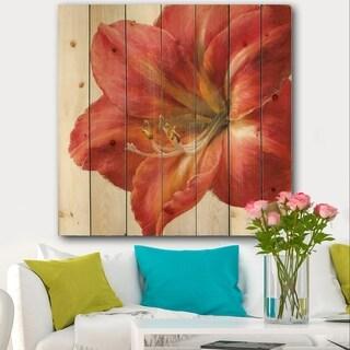 Designart 'Vivid Red Amaryllis' Floral & Botanical Print on Natural Pine Wood