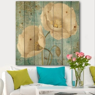 Designart 'bouquet Poppies on Paisley I' Cottage Print on Natural Pine Wood - Multi-color