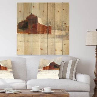 Designart 'Winter in the Barns' Farmhouse Print on Natural Pine Wood - Grey/Brown