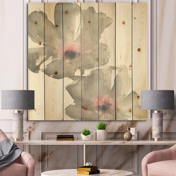 Designart 'Shabby Gray Blush Cosmo II' Shabby Chic Print on Natural Pine Wood - Grey/Pink