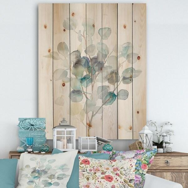 Designart 'Eucalyptus leaves I' Farmhouse Print on Natural Pine Wood - Grey/Blue
