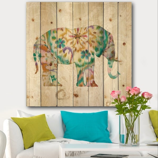 Designart 'Boho Paisley Elephant I' Bohemian & Eclectic Print on Natural Pine Wood - Multi-color