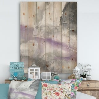 Designart 'Watercolor Minimal Purple Tones I' Modern Farmhouse Print on Natural Pine Wood - Grey