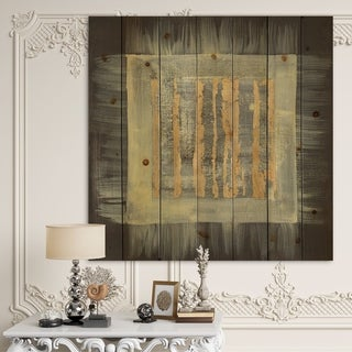 Designart 'Galm Abstract II' Transitional Print on Natural Pine Wood - Black