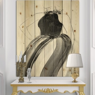 Designart 'Glam and Fashion Feminine II' Fashion Figures Print on Natural Pine Wood - Black