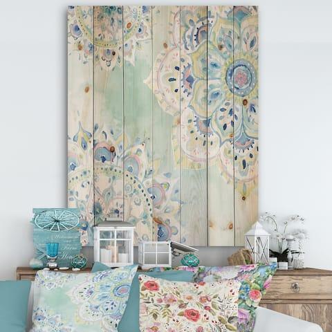 Designart 'Watercolor mandalas IV' Floral & Botanical Print on Natural Pine Wood - Blue/Green