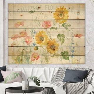 Designart 'Floursack Florals I' Floral & Botanical Print on Natural Pine Wood - Multi-color