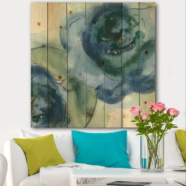 Designart 'Blue Floral Poppies V' Cottage Print on Natural Pine Wood - Blue