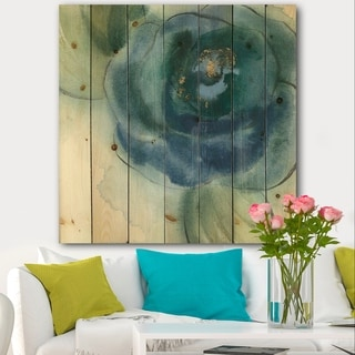 Designart 'Blue Floral Poppies VI' Cottage Print on Natural Pine Wood - Blue