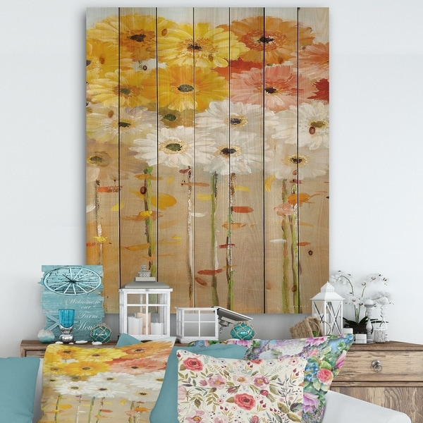 Designart 'Daisies Fall I' Floral & Botanical Print on Natural Pine Wood - Multi-color