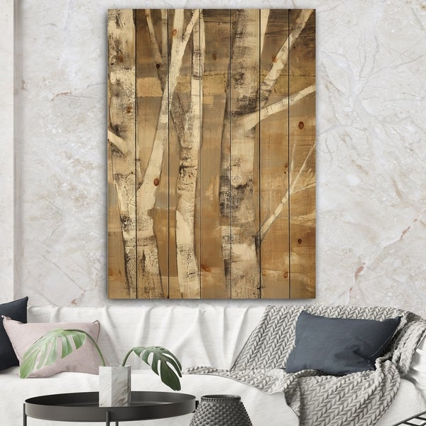 Designart 'Natural Birch Forest I' Traditional Print on Natural Pine Wood - Brown/White