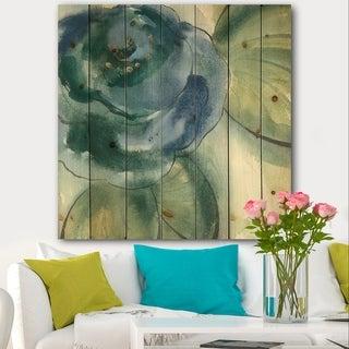 Designart 'Blue Floral Poppies II' Cottage Print on Natural Pine Wood - Blue
