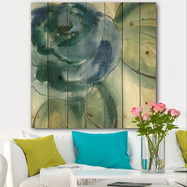 Designart 'Blue Floral Poppies II' Cottage Print on Natural Pine Wood - Blue
