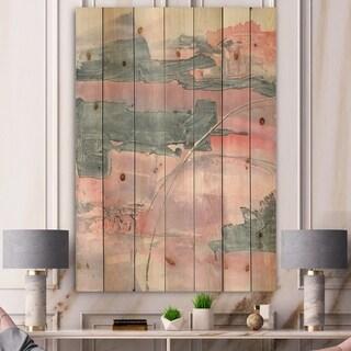 Designart 'Durty Shabby Pink Blush II' Shabby Chic Print on Natural Pine Wood - Grey