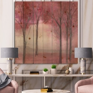 Designart 'Shabby Pink Under the Trees' Shabby Chic Print on Natural Pine Wood - Red