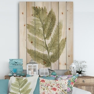 Designart 'Simple Forest IV' Farmhouse Print on Natural Pine Wood - Green