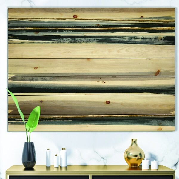 Designart 'Gold Watercolor Amethyst II' Modern & Contemporary Print on Natural Pine Wood - Grey