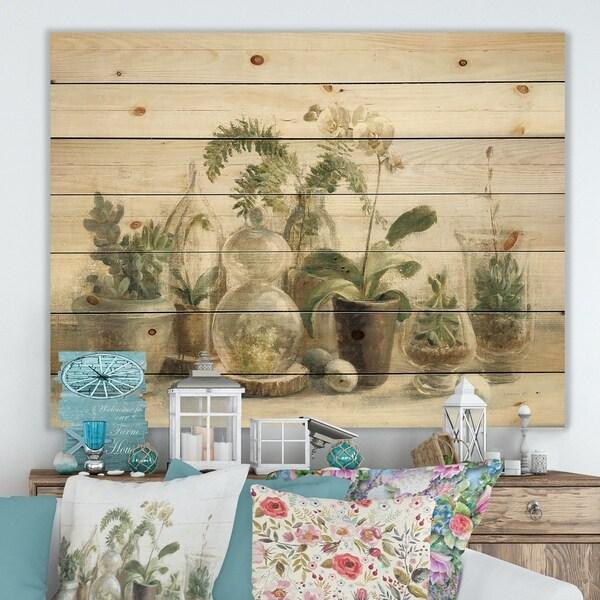 Designart 'Greenhouse Orchids ' Floral Cottage Print on Natural Pine Wood - Grey/Green
