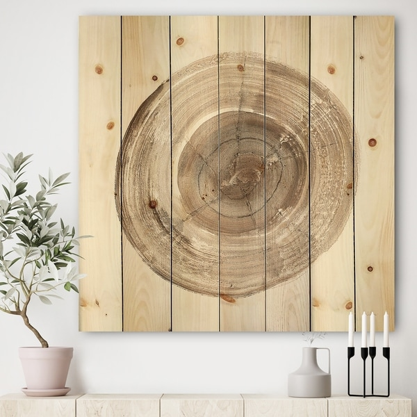 Designart 'Circle natural elements II' Farmhouse Print on Natural Pine Wood - Multi-color