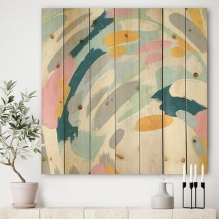Designart 'Geometric Vortex II' Modern & Contemporary Print on Natural Pine Wood - Multi-color