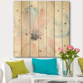 Designart 'Pink Shabby Floral I' Shabby Chic Print on Natural Pine Wood - Blue/Pink