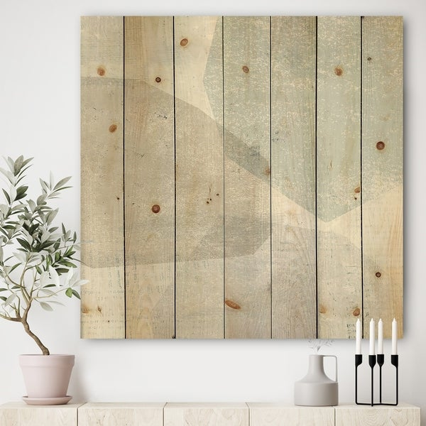 Designart 'Grey and White Collage I' Modern & Contemporary Print on Natural Pine Wood - Blue