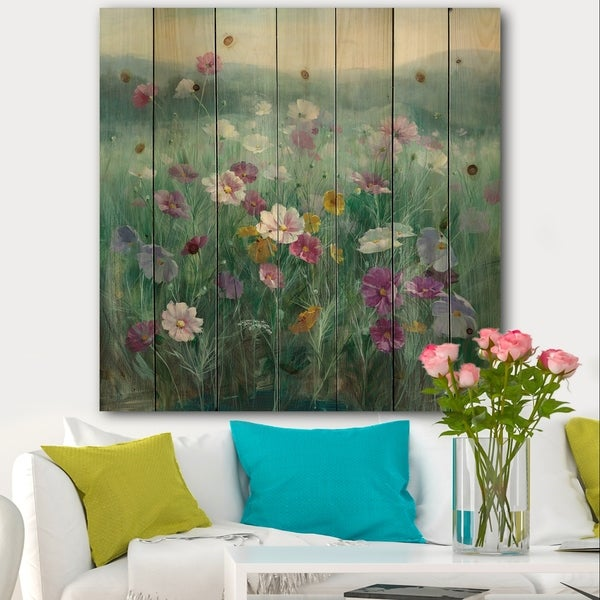 Designart 'Flower field' Floral Farmhouse Print on Natural Pine Wood - Blue