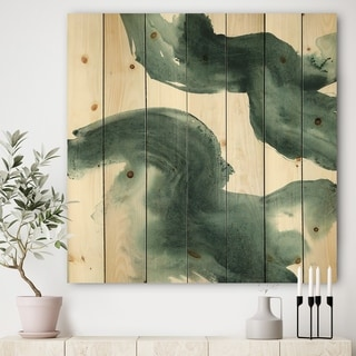 Designart 'Gouache Green on Gray I' Modern & Transitional Print on Natural Pine Wood