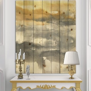 Designart 'Gold Glamour Direction II' Modern & Contemporary Print on Natural Pine Wood - Grey/Orange