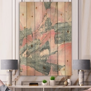 Designart 'Durty Shabby Pink Blush III' Shabby Chic Print on Natural Pine Wood - Grey