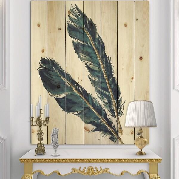 Designart 'Gold Indigo Feathers III' Modern Bohemian Print on Natural Pine Wood - Grey