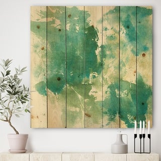 Designart 'Watercolor Rock I' Modern & Contemporary Print on Natural Pine Wood - Green