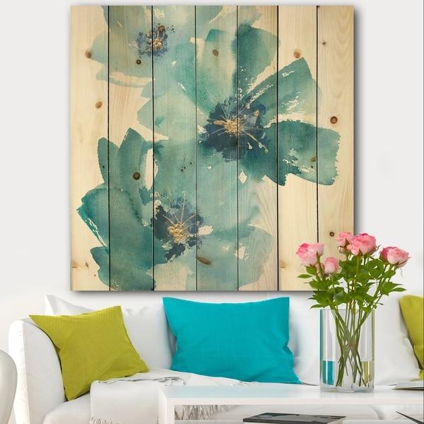 Designart 'Blue Cosmos Indigo I' Farmhouse Print on Natural Pine Wood - Blue