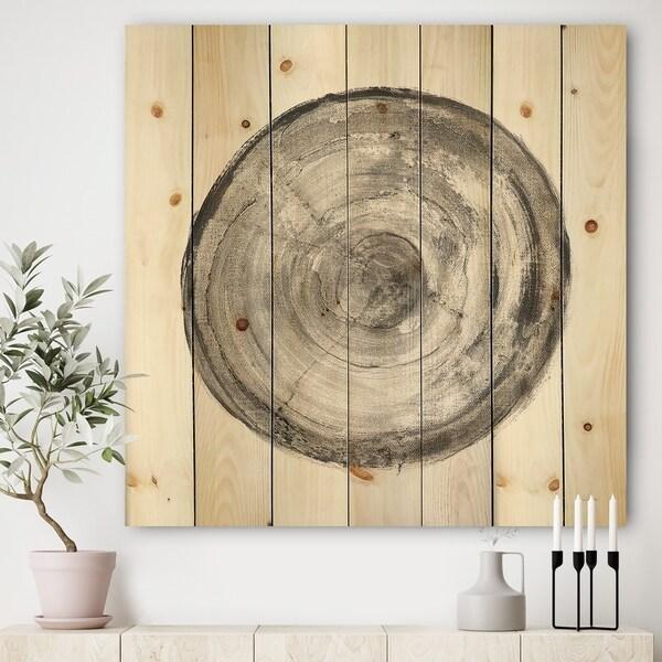 Designart 'Circle natural elements III' Farmhouse Print on Natural Pine Wood - Grey/Black