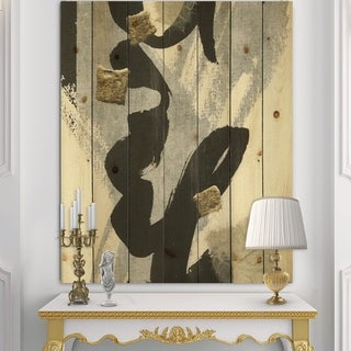 Designart 'Glam Collage II' Modern & Contemporary Print on Natural Pine Wood - Black